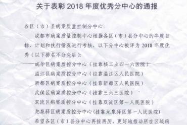 武侯区病案质控分中心(挂靠三六三医院)被评为2018年度优秀质控分中心